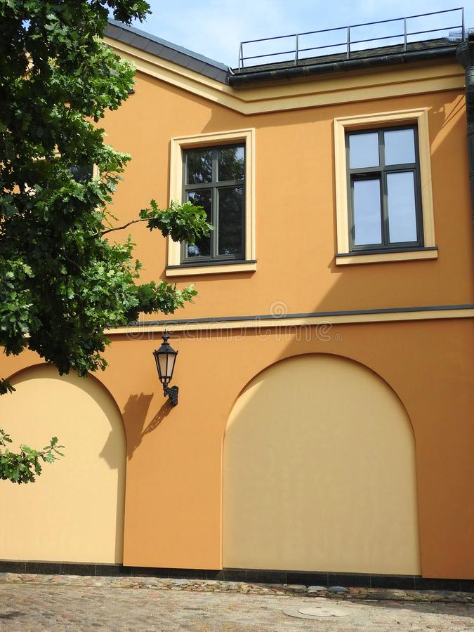 Beautiful home wall and windows, Lithuania royalty free stock image
