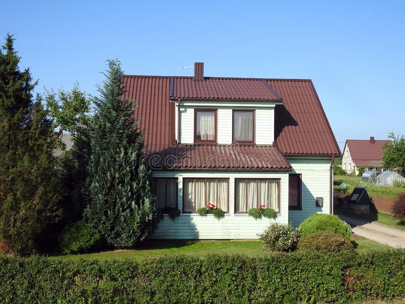 Beautiful white old home, Lithuania royalty free stock photography