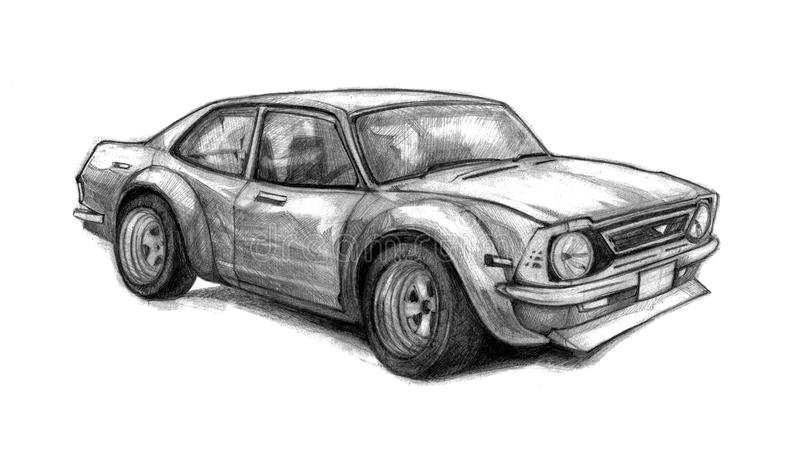 Nice old school car. Beautifully drawn by hand graphic illustration with a racing vehicle. stock photo
