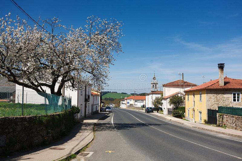 Nice outdoor rustic landscape of the road in the village of Spain in spring. Nice outdoor rustic landscape of the road in the village of Spain with blue skies in royalty free stock images