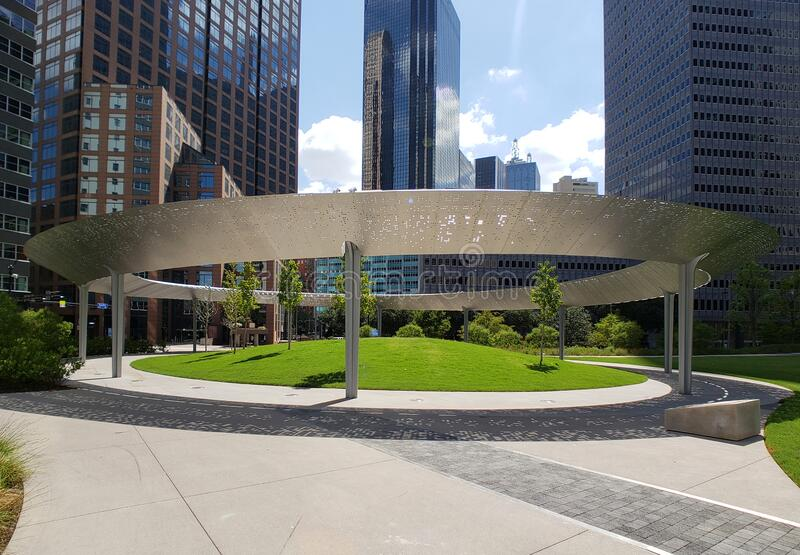 Modern Pacific plaza in downtown of city Dallas TX USA stock image