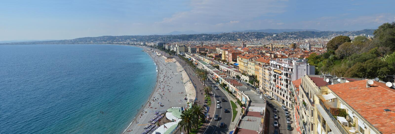 Nice Panorama of Beaches & Promenade Des Anglais, France stock images