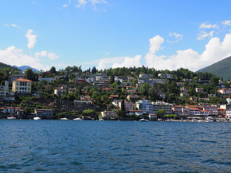 Nice panorama of Lake Maggiore landscape and swiss cityscape of european city of Ascona at alpine riviera, SWITZERLAND royalty free stock image