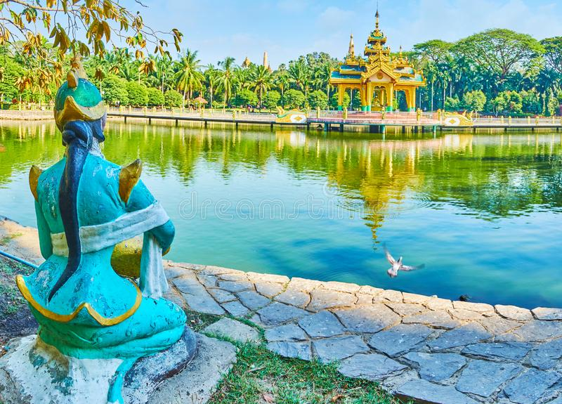 Nice park with a pond, Theingottara, Yangon, Myanmar. Theingottara park is the popular place among the locals and tourists, coming here, to relax in shade, enjoy royalty free stock photography