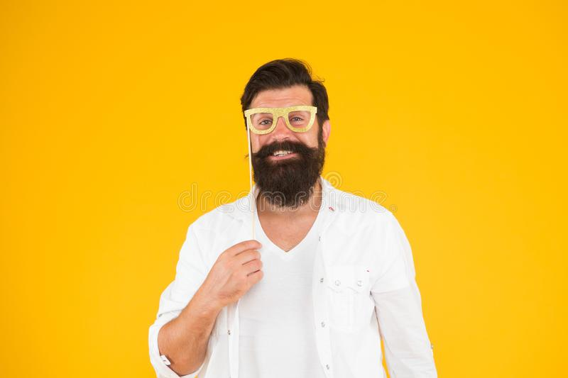 Nice party. ready for holiday celebration. Smart nerd eyeglasses. Last minute costume party ideas. how nerds have fun. Barbershop concept. bearded man party royalty free stock photo