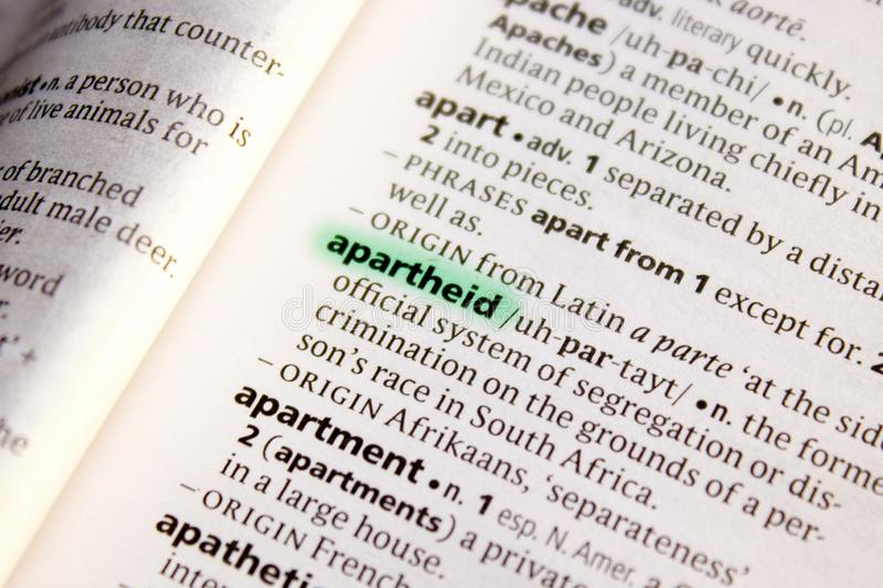 Apartheid word or phrase in a dictionary. Nice photo illustration, useful for your needs stock photo