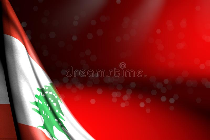 Beautiful national holiday flag 3d illustration - image of Lebanon flag hangs in corner on red with selective focus and empty. Nice photo of Lebanon flag hangs vector illustration