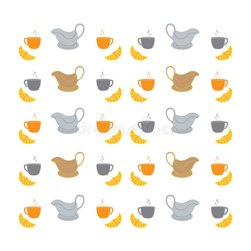 Nice picture with colorful cups, saucers, gravy boats and croissants. Nice picture with colorful cups, saucers, gravy boats and croiss. Art royalty free illustration