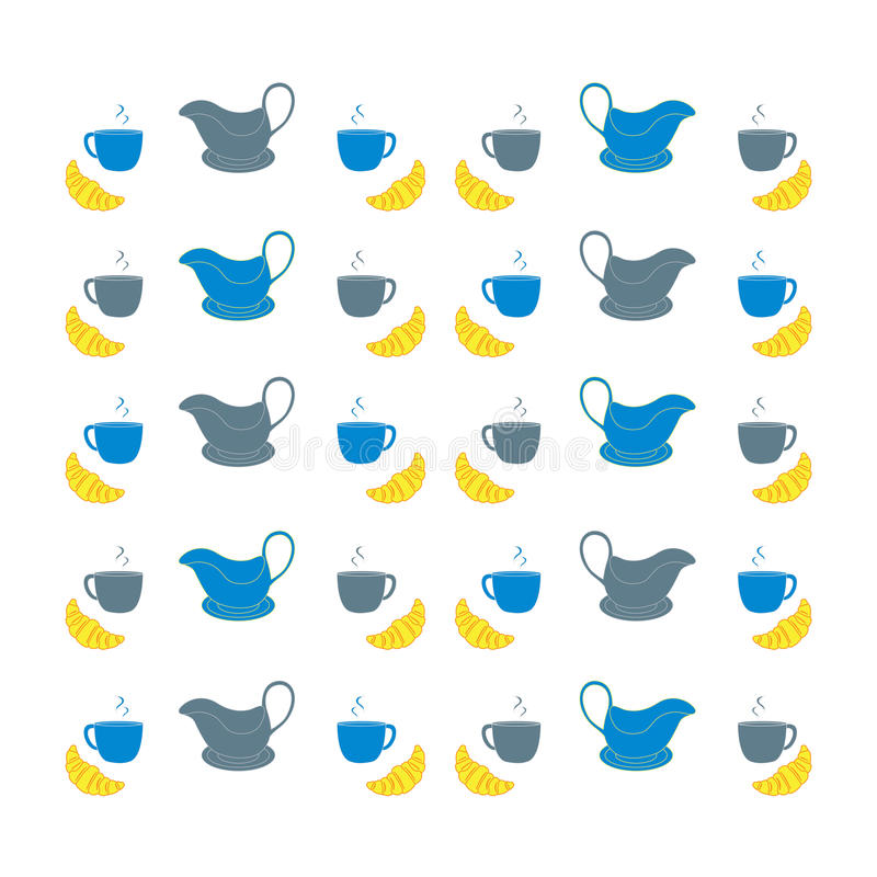 Nice picture with colorful cups, saucers, gravy boats and croissants. Vector vector illustration