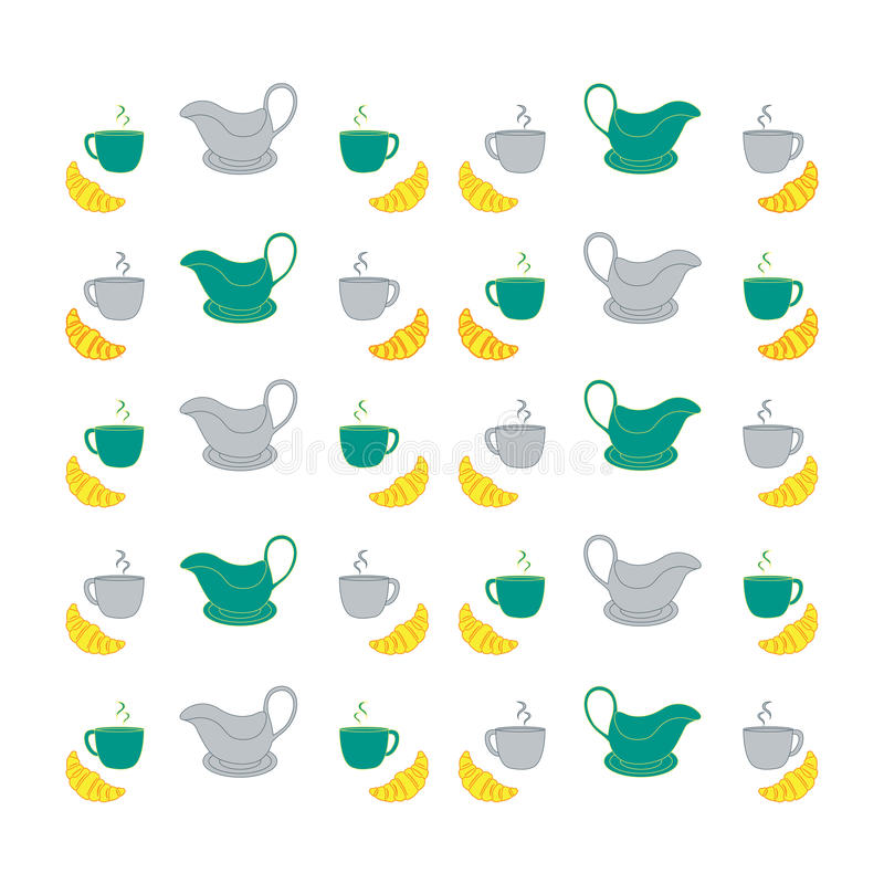 Nice picture with colorful cups, saucers, gravy boats. Vector vector illustration