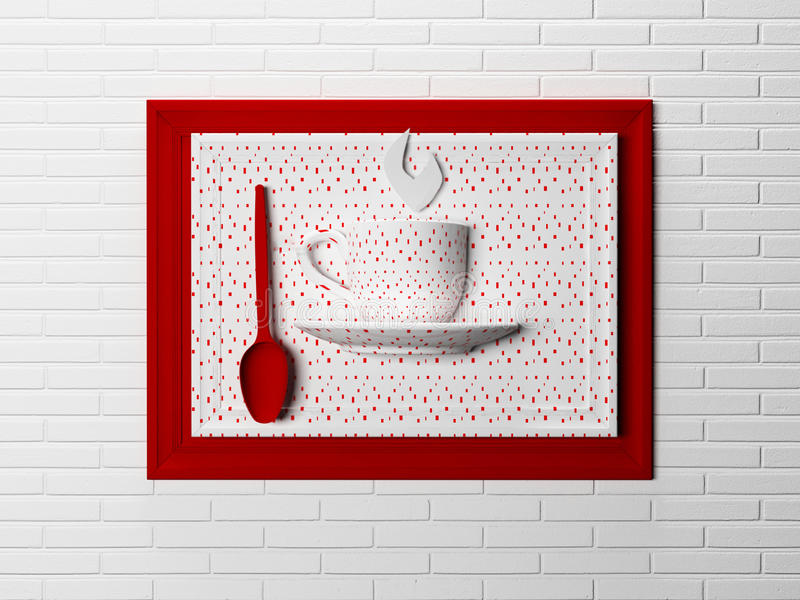 Nice picture, decor for kitchen, 3d. Rendering royalty free illustration