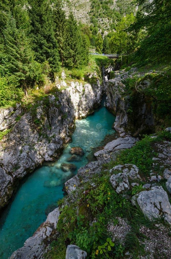 Mala korita on Soca river, Bovec, Slovenia royalty free stock photo