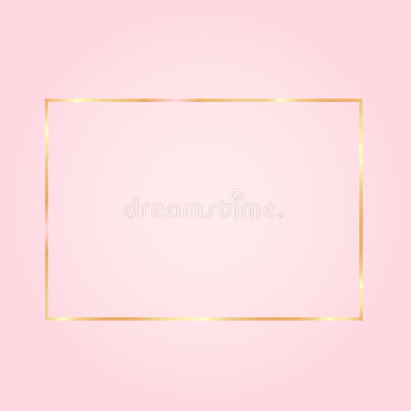 Nice pink background with a golden frame on royalty free illustration