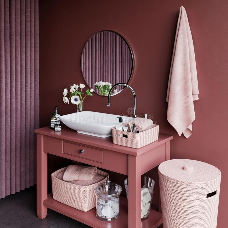 Nice pink bathroom with decoration stock image