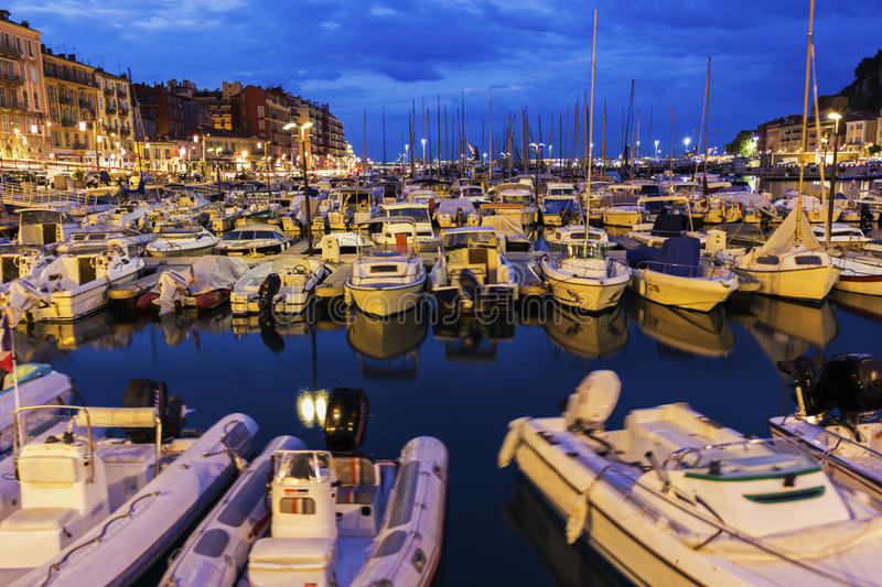 Nice Port in France. Boats anchored in the Port of Nice in France in the morning royalty free stock images