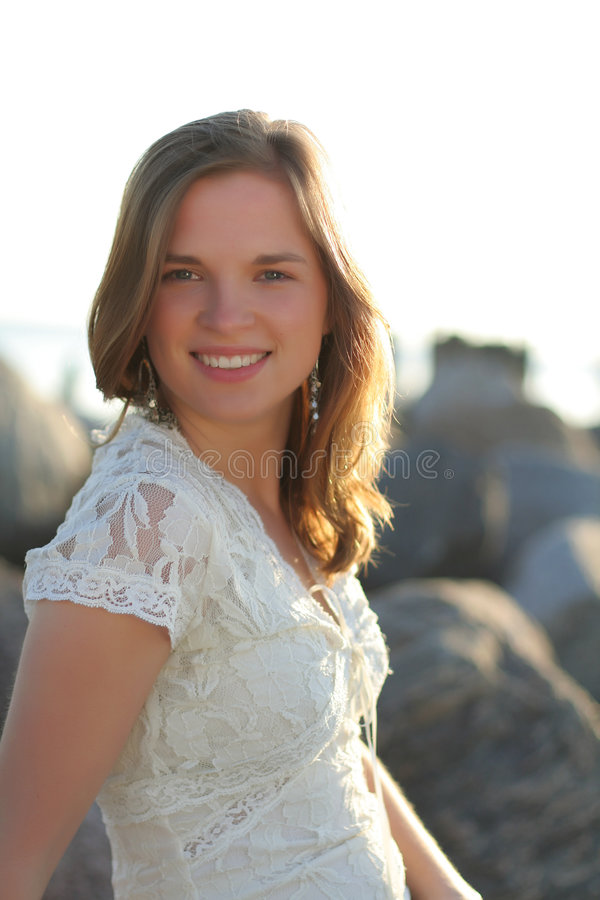 Happy Teen By Crumbling Wall Stock Image: Nice Portrait Of Happy Teen Girl Royalty Free Stock
