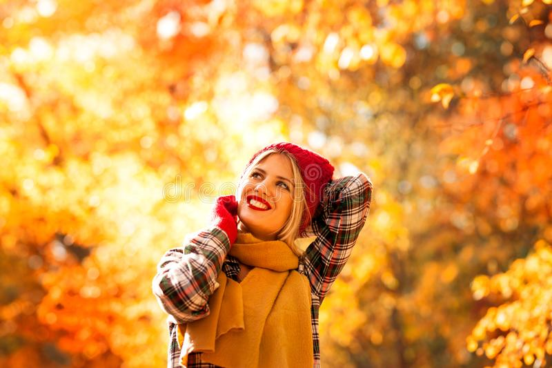 Nice portrait of young girl in autumn park stock image