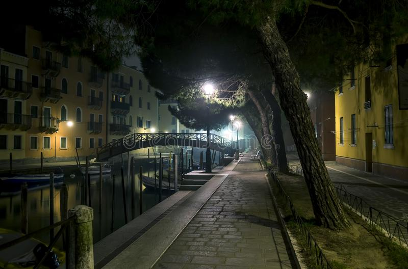 Nice quiet street at night. Private boats are parked along the canal. The bridge silhouette is visible at the end of the waterway. Street lights illuminate the royalty free stock photography