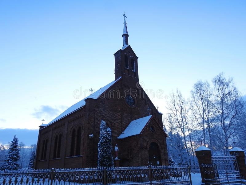 Beautiful catholic church in Silute town, Lithuania royalty free stock image