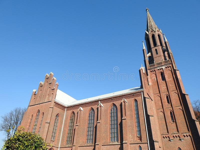 Old beautiful red catholic church, Lithuania royalty free stock photos