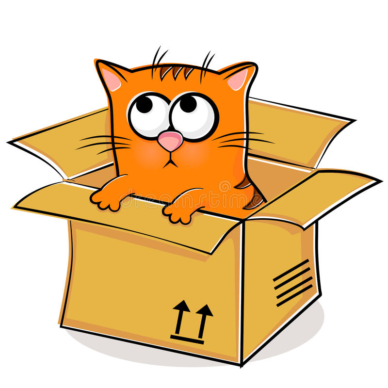 Download Nice red kitten in box stock vector. Image of pussycat - 20171133