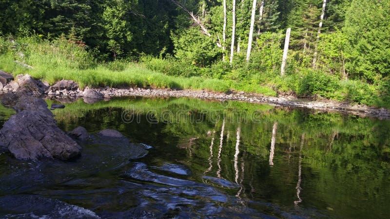 calme spot in the river stock photos