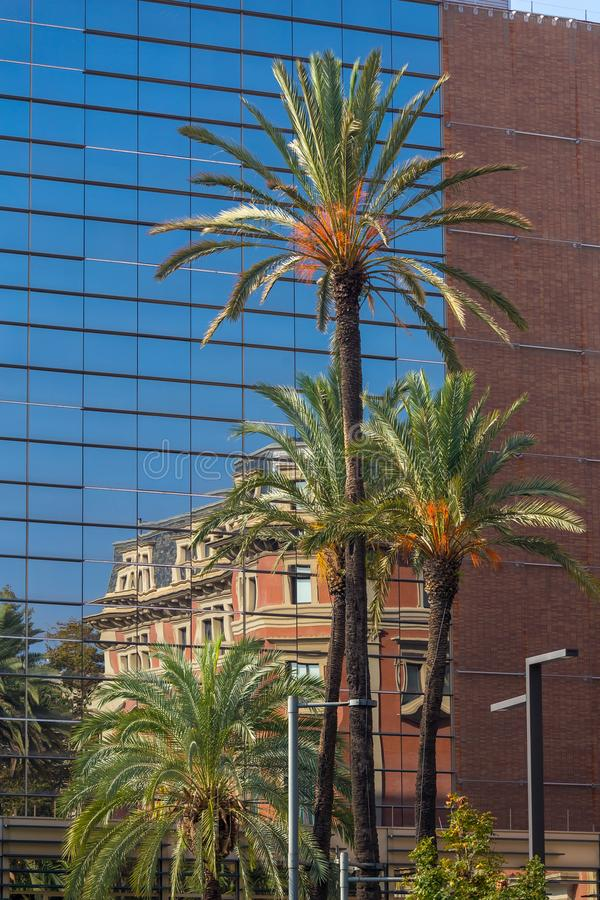 Nice reflection on the house on the street in Barcelona, Spain royalty free stock photo
