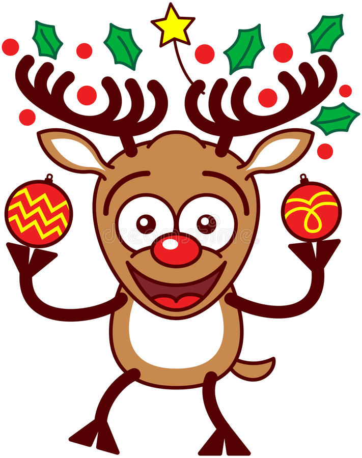 Nice reindeer holding Xmas baubles and ornaments. Enthusiastic brown reindeer with big antlers, decorated with a yellow star and evergreen holly leaves, and red stock illustration