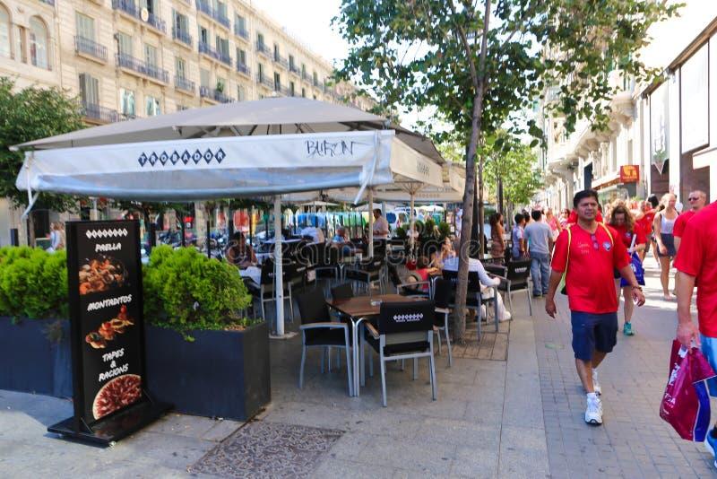 Nice restaurant in Barcelona stock photo