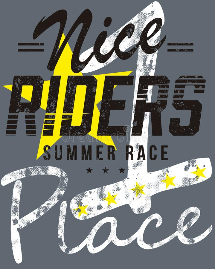 Nice riders summer race place graphics. Nice riders summer race place text graphics on grey with yellow star vector illustration