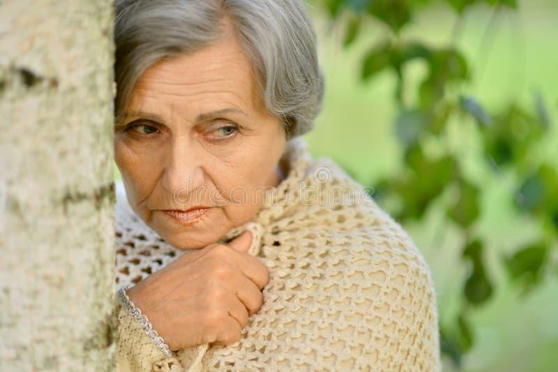 Nice sad old woman. On the autumn background royalty free stock photo