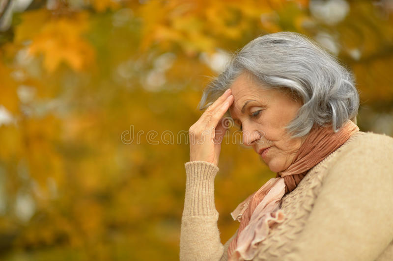 Nice sad old woman. On the autumn background royalty free stock photography