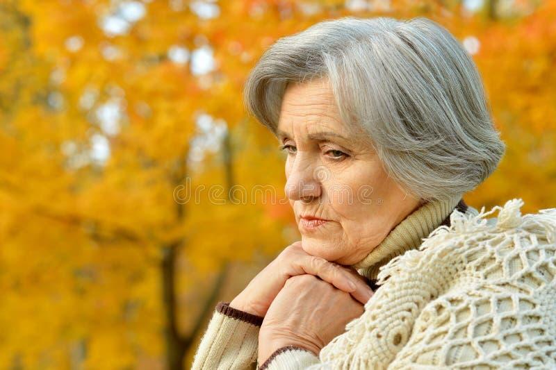 Nice sad old woman. On the autumn background stock photos