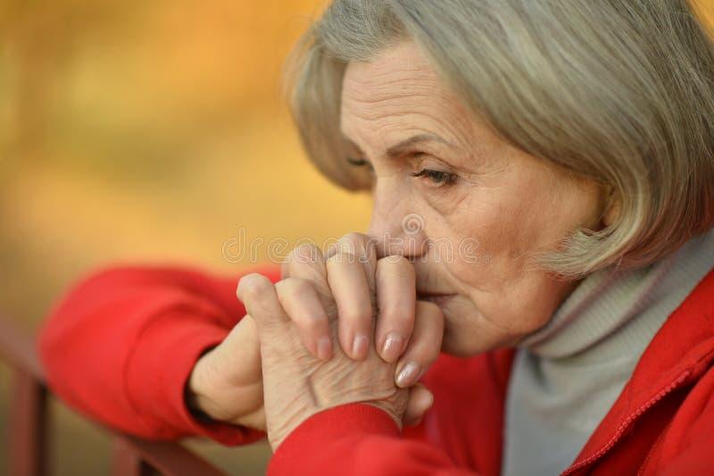 Nice sad old woman. On the autumn background royalty free stock photos