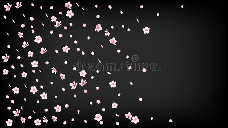 Nice Sakura Blossom Isolated Vector. Summer Blowing 3d Petals Wedding Texture. Japanese Funky Flowers Wallpaper. Valentine. Mother`s Day Realistic Nice Sakura royalty free illustration