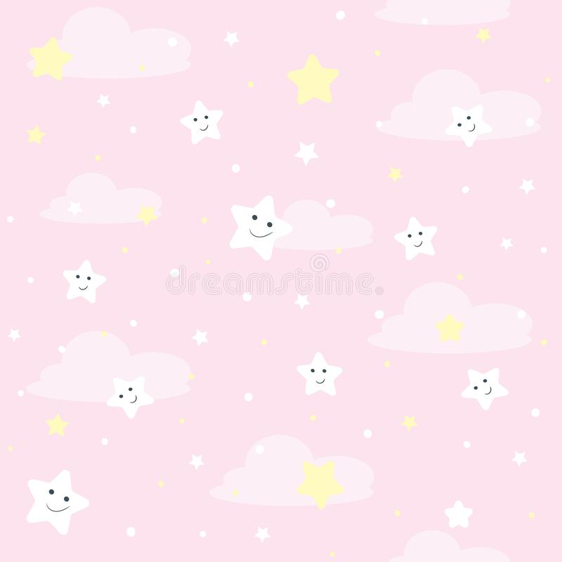 Nice seamles pattern for children. Vector illustration with stars and clouds. vector illustration