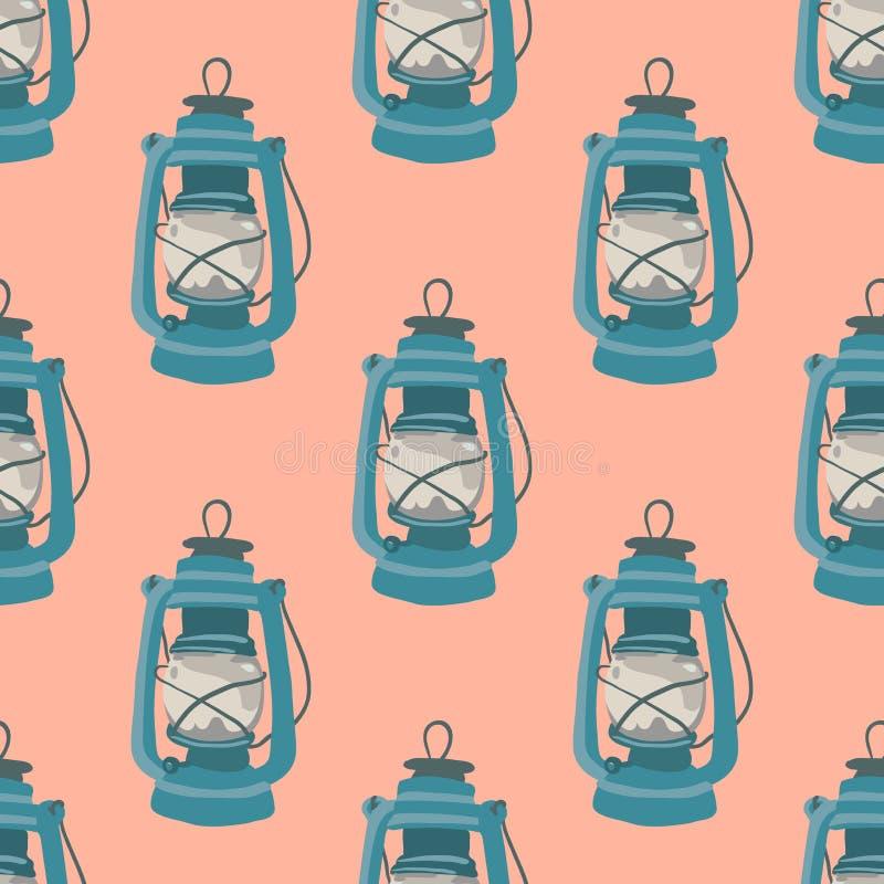 Nice seamless pattern with kerosene lamp. Nautical elements. Retro background. Vector illustration stock image