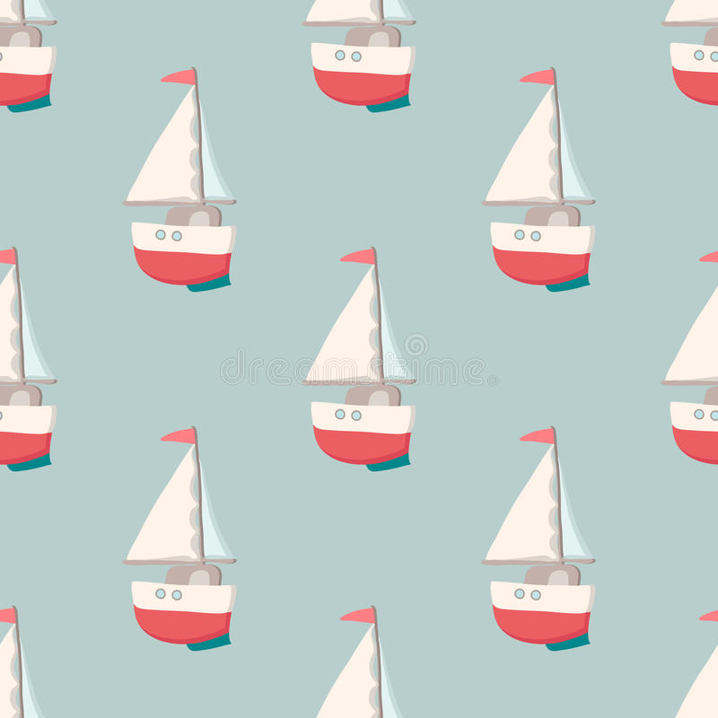 Nice seamless pattern with yacht. Nautical elements. Retro toys. Summer Travel Design - Sail Boat. Vector illustration stock photos