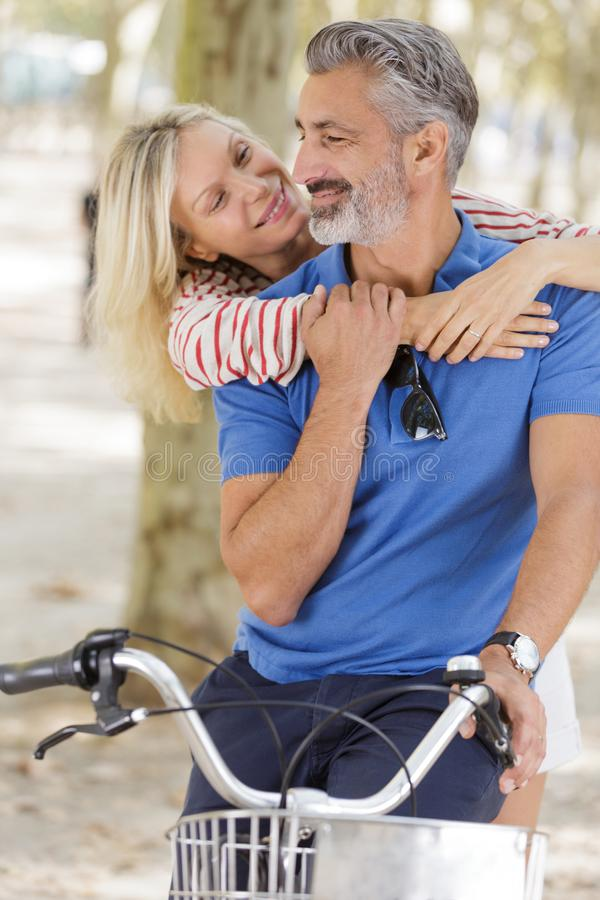 Senior adult couple have fun outdoors stock image