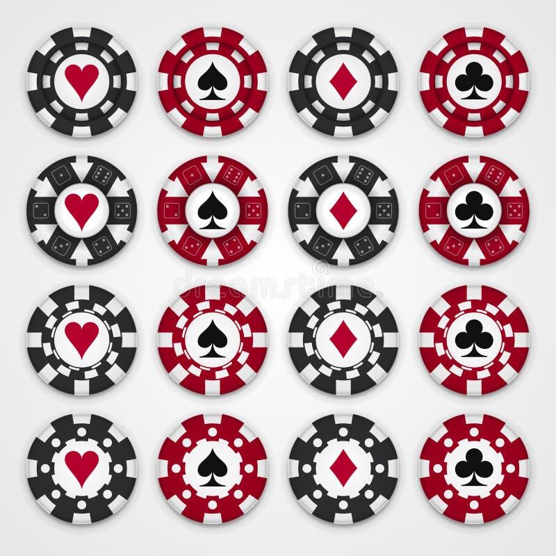 Nice set of casino gambling chips. Four design types of chips stock illustration