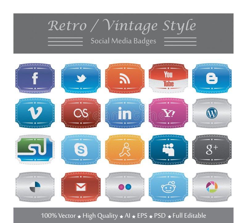 Retro/Vintage Style Social Media Badges stock illustration