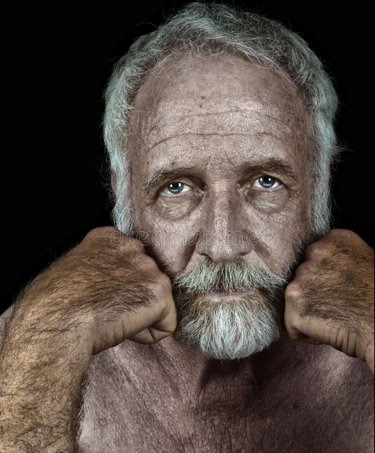 Very handsome Elderly man On Black royalty free stock photography