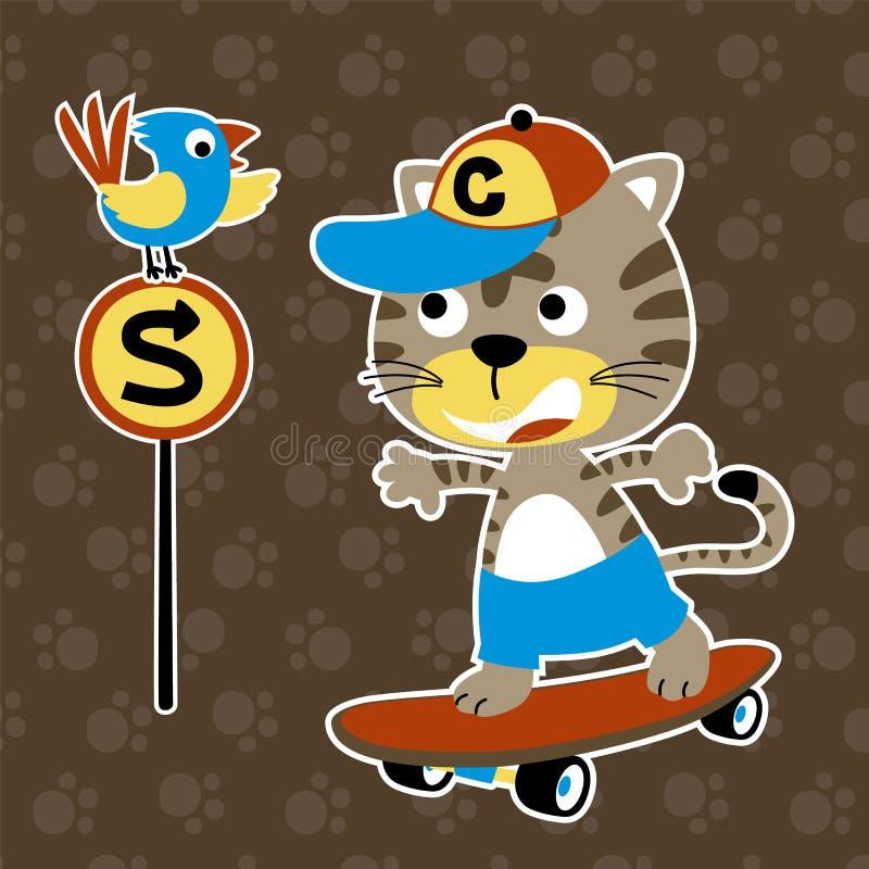 Nice skateboarder op voetafdrukachtergrond royalty-vrije illustratie