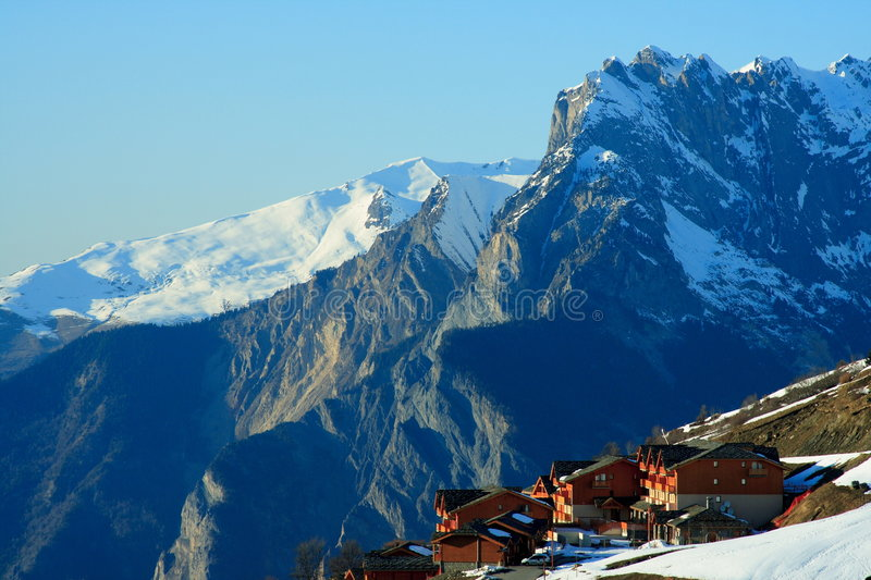Nice ski resort. In the french alps (valloire and valmenier) at the end of the winter season royalty free stock photos