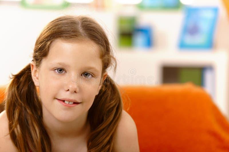 Nice small girl with ponytail stock photos