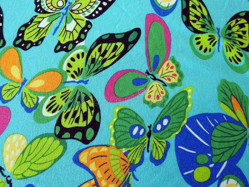 Beautiful fabric with painted butterfly stock photos