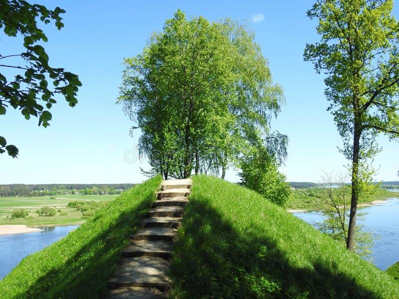 Beautiful Sudargo mound near river Nemunas, Lithuania stock photography