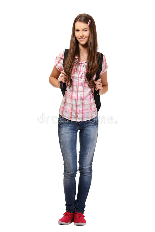 Nice student with book bag royalty free stock photography