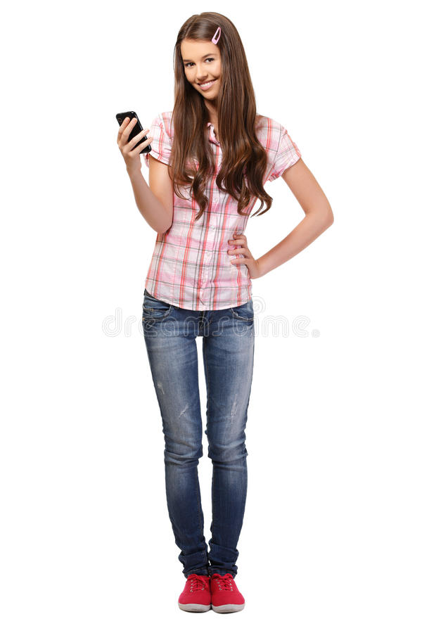 Nice student holding cellphone in her hand stock photos