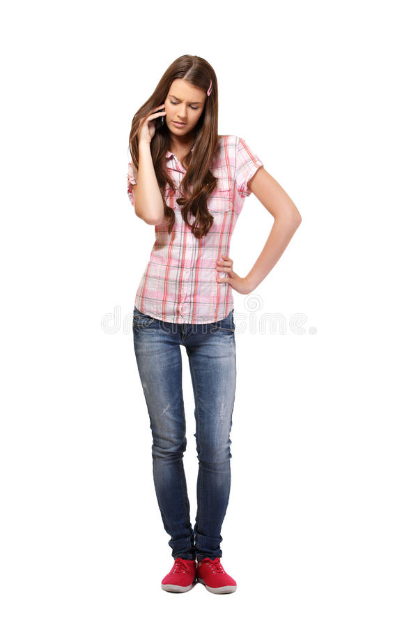 Nice student making a call royalty free stock images